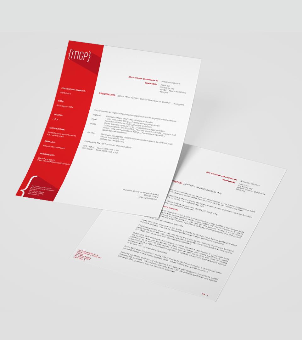 Carta intestata e foglio lettera MGP